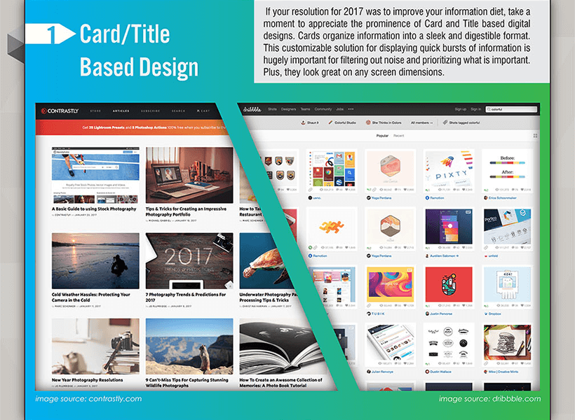 Webdesign Trends 2017 - Card based Design