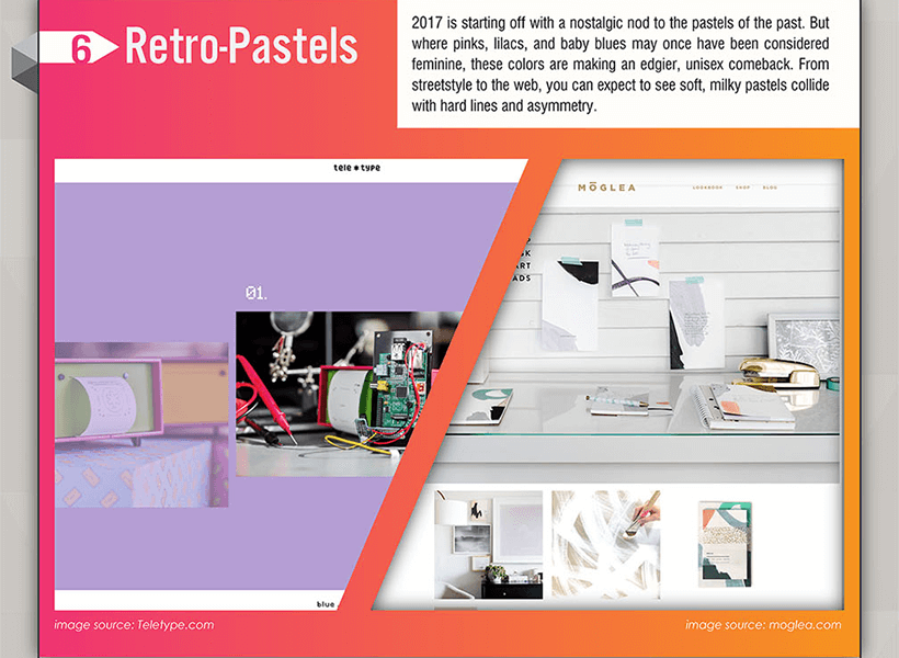 Webdesign Trends 2017 - Retro Pastellfarben